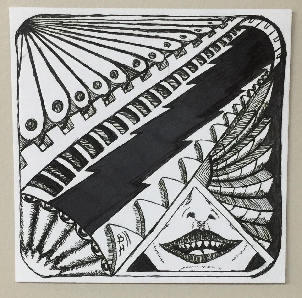 "Dentin. Micron Pens on Strathmore Bristol 300 Series Artist Tiles. 3""x3"""