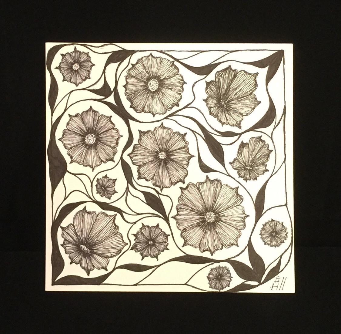 Floral Arrangement. Micron pens on Strathmore 300 Series Vellum. 6