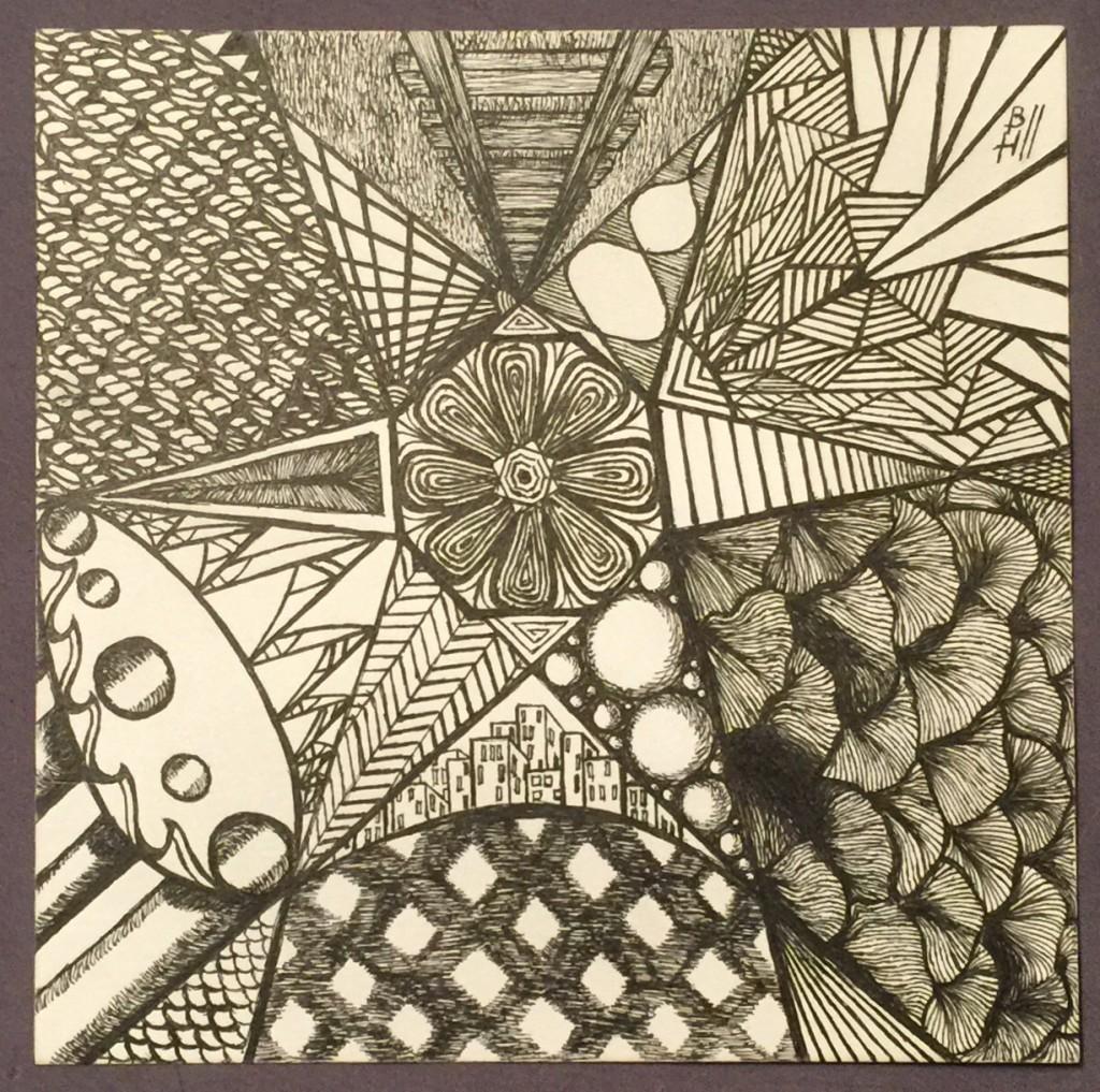Stars and Stripes. Micron pens on Strathmore Bristol 300 Series Artist Tiles. 6