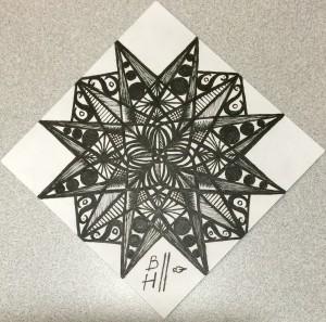 "Ornament. Micron pens on Strathmore 300 Series Artist Tiles. 4""x4"""