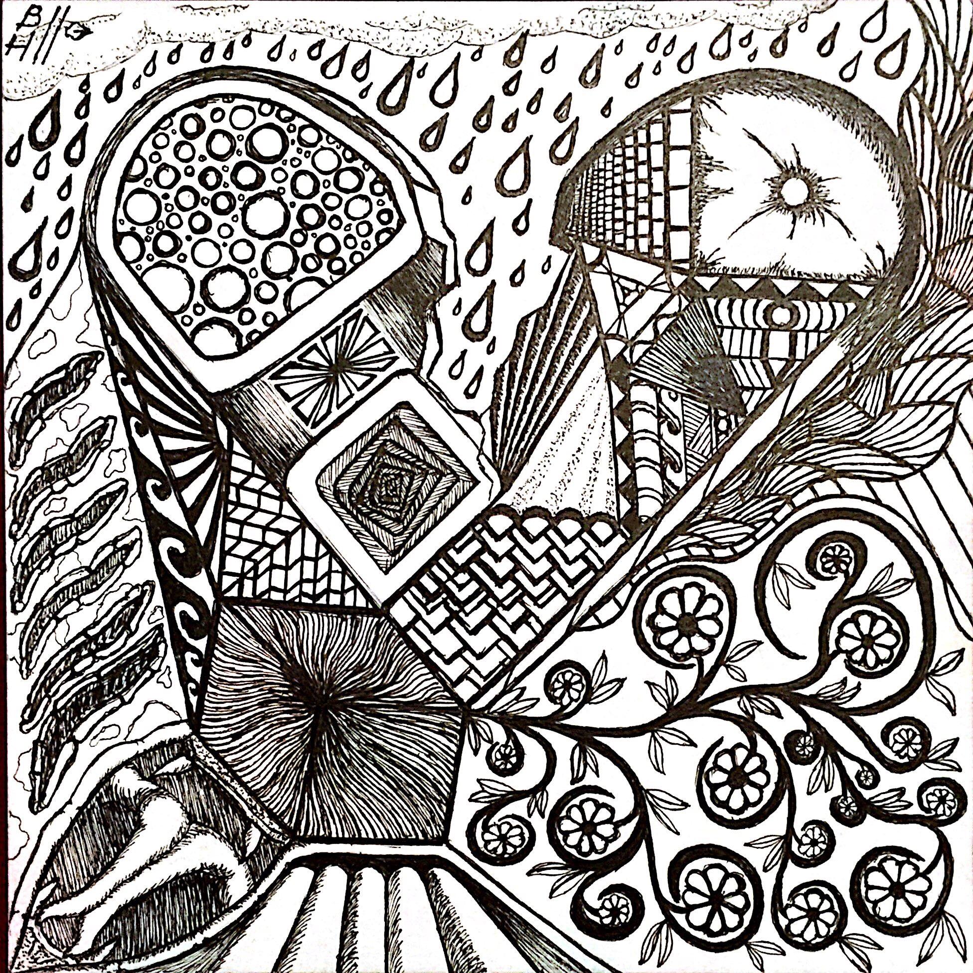Heart Asunder. Micron pens on Strathmore 300 Series Bristol Artist Tiles. 6