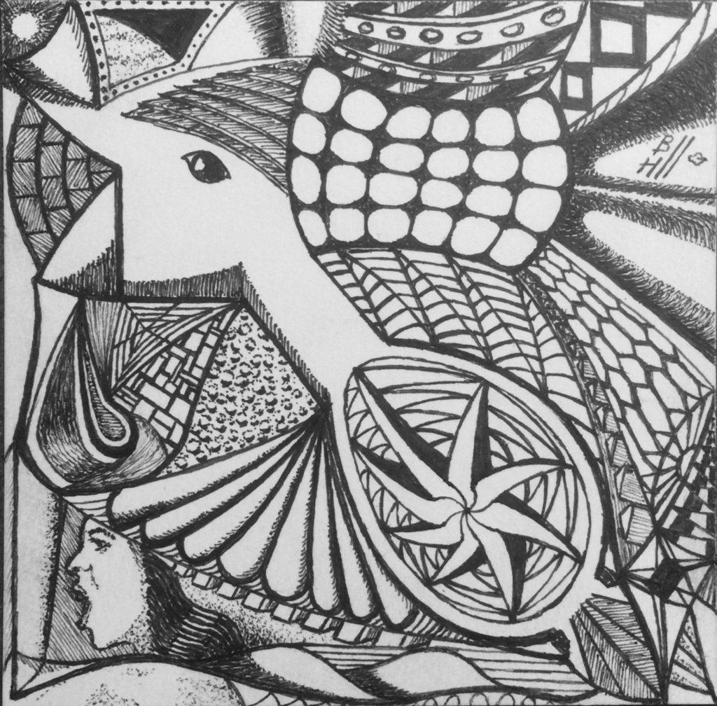"Crazy Bird. Staedtler pigment liner pens on Strathmore 300 Series Artist Tiles. 4"" x 4"""